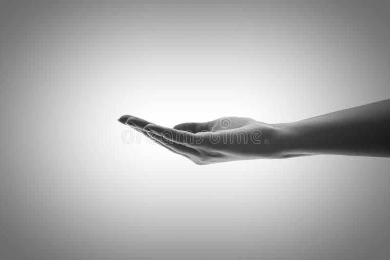 Wie ein weniges Wasser in der Palme Ihrer Hand in Schwarzweiss stockbild