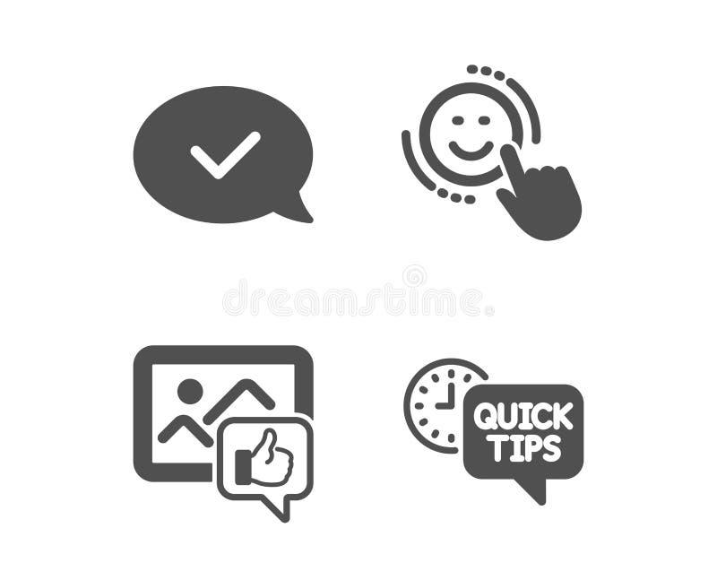 Wie Foto, anerkannte Mitteilung und Lächelnikonen Schnelles Tippzeichen Daumen oben, geltendes Schwätzchen, positives Feedback Ve lizenzfreie abbildung