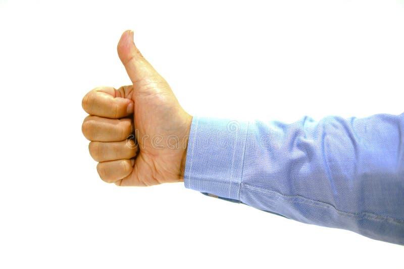 Wie Hand von intelligenten Männern im weißen Hintergrund stockbild