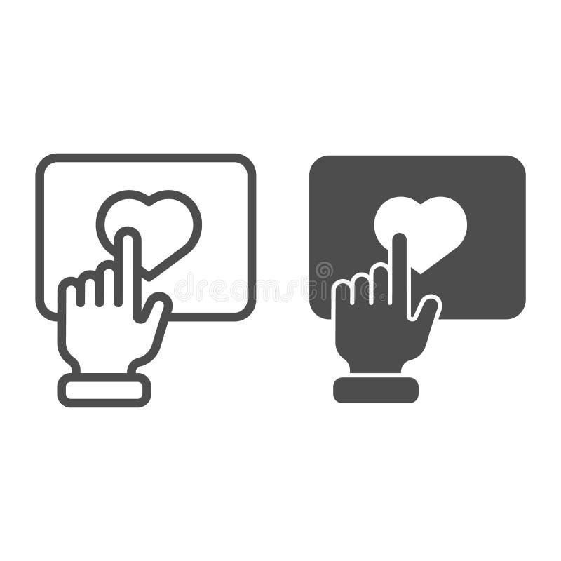 Wie Knopflinie und Glyphikone Hand mit der Herzknopf-Vektorillustration lokalisiert auf Weiß Klicken Sie Entwurfsart an vektor abbildung