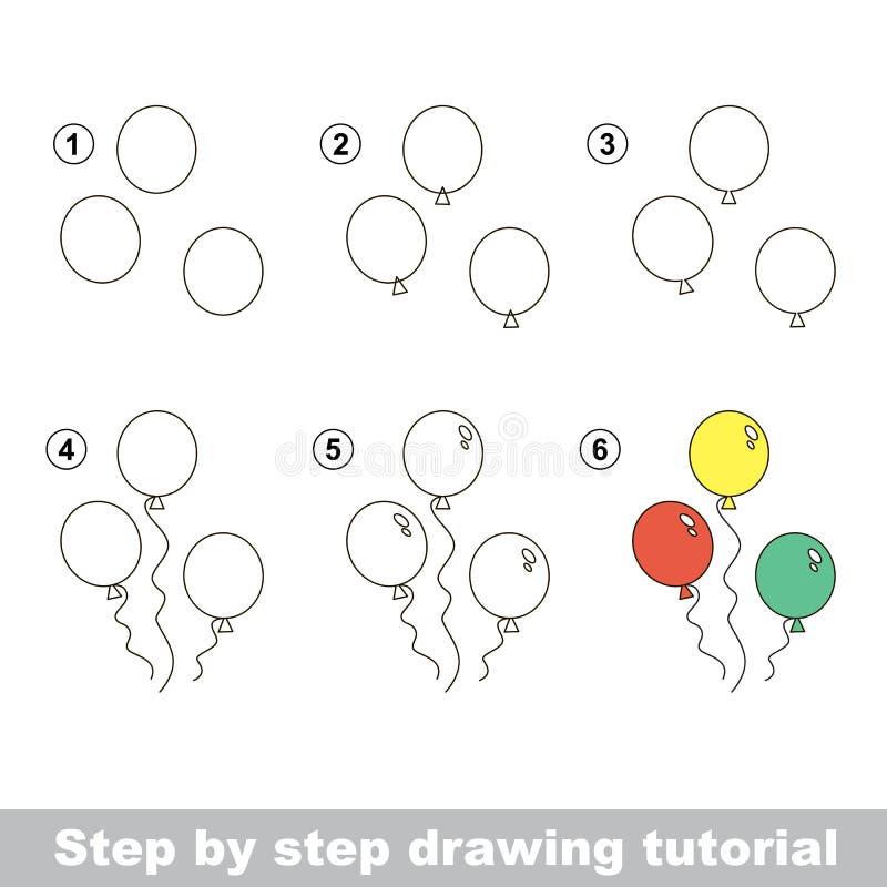 Wie man Ballone zeichnet stock abbildung