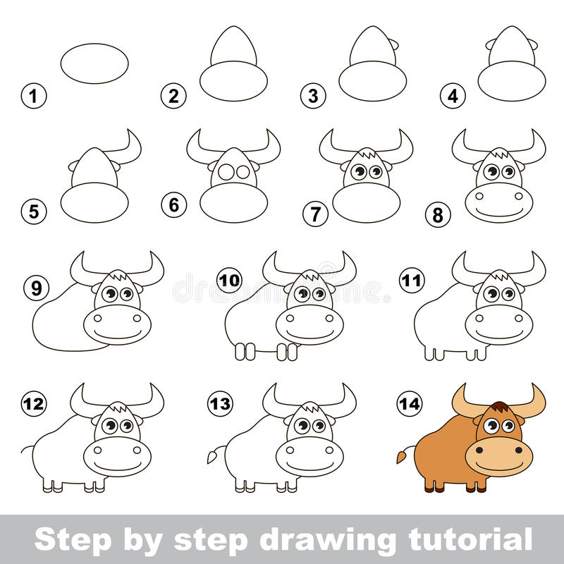 Wie man ein Yak zeichnet vektor abbildung