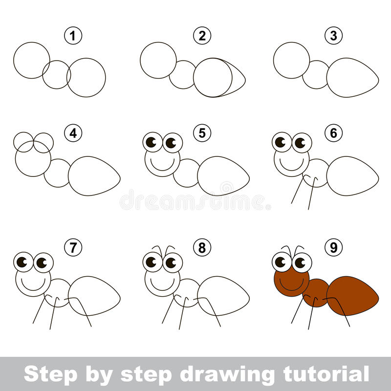 Wie man eine Ameise zeichnet lizenzfreie abbildung