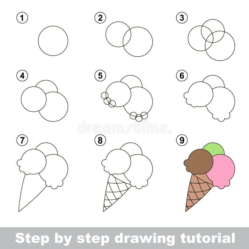 Wie man eine Eiscreme zeichnet vektor abbildung