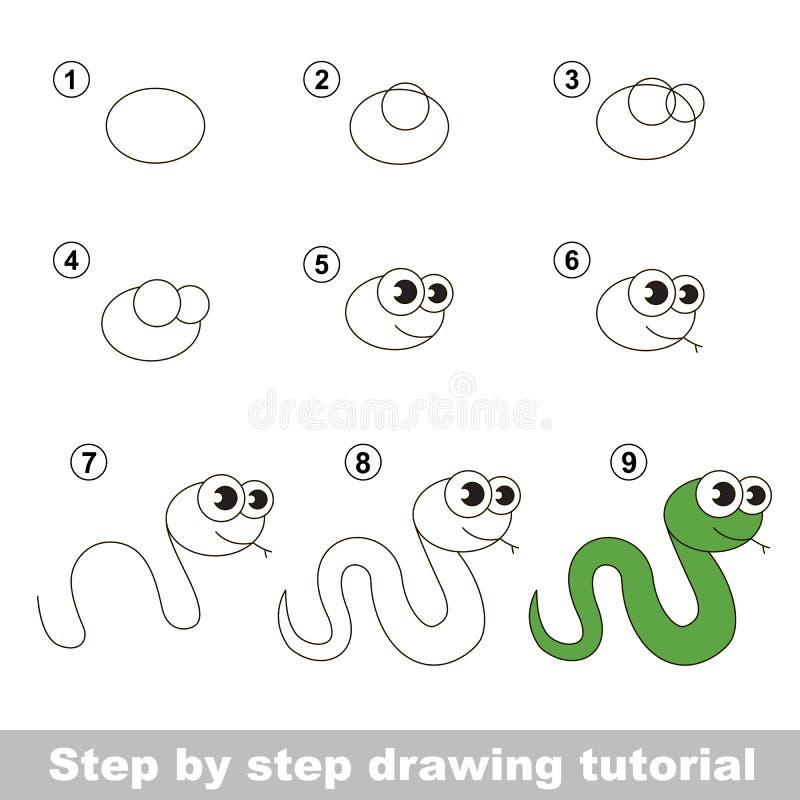 Wie man eine grüne Schlange zeichnet stock abbildung