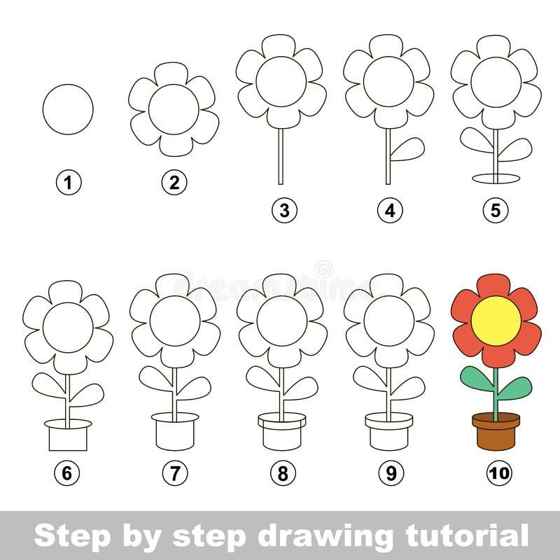 Wie man eine Topf-Blume zeichnet lizenzfreie abbildung