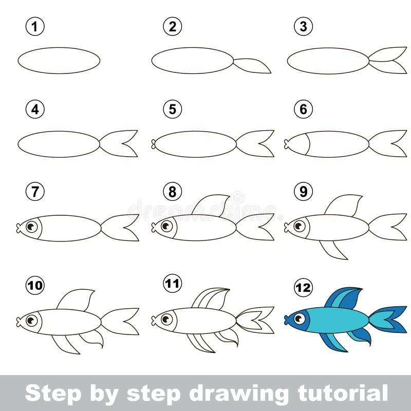 Wie man einen blauen Fisch zeichnet lizenzfreie abbildung