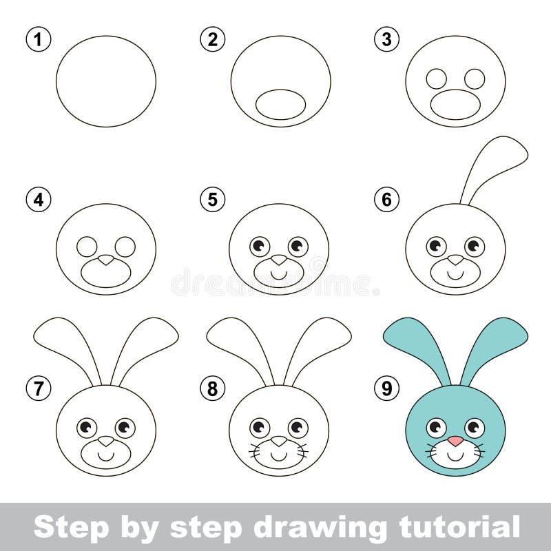 Wie man einen Hase-Kopf zeichnet lizenzfreie abbildung