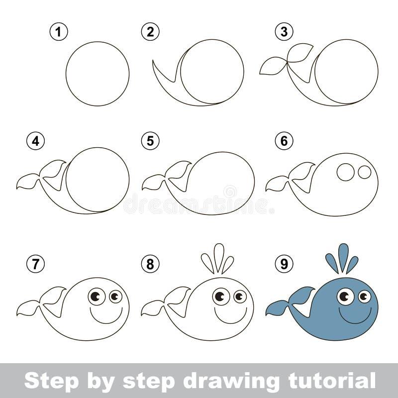 Wie man einen lustigen Wal zeichnet lizenzfreie abbildung