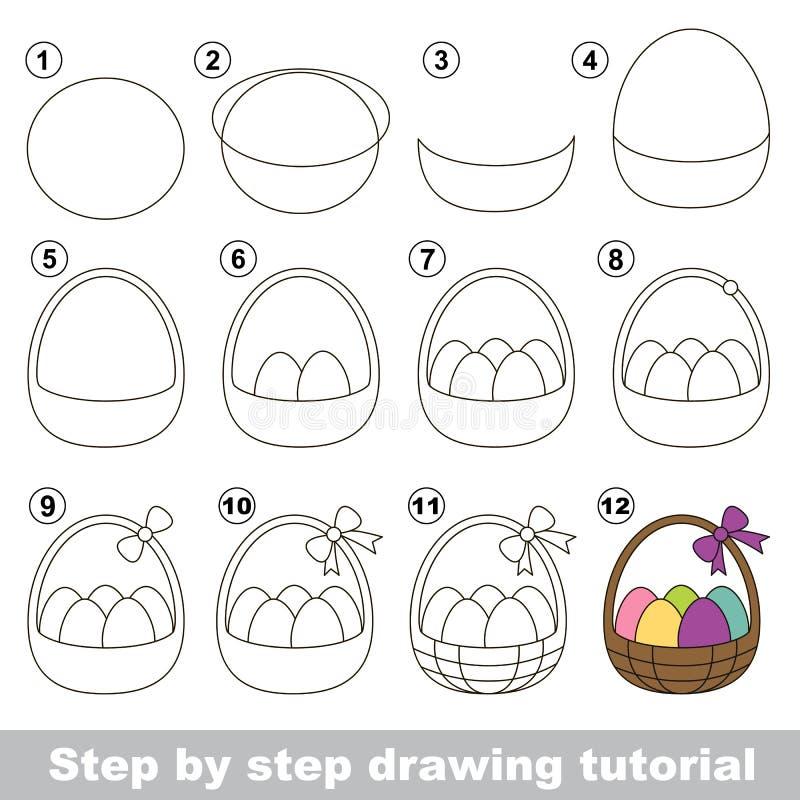 Wie man einen Ostern-Korb zeichnet lizenzfreie abbildung