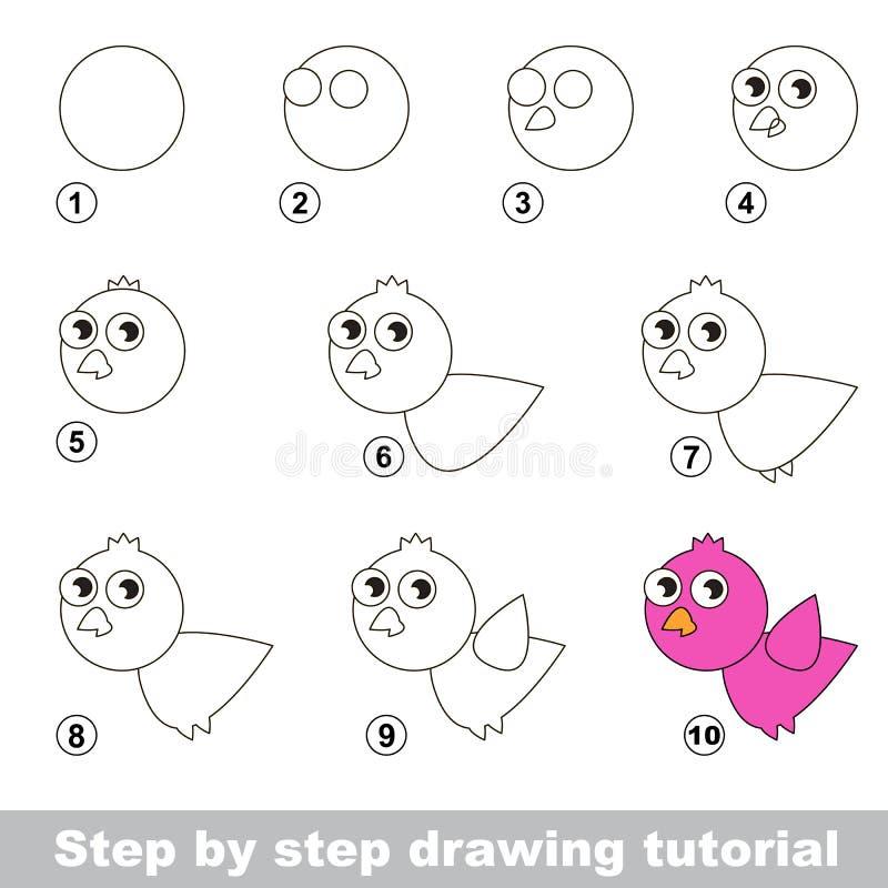 Wie man einen rosa Vogel zeichnet vektor abbildung