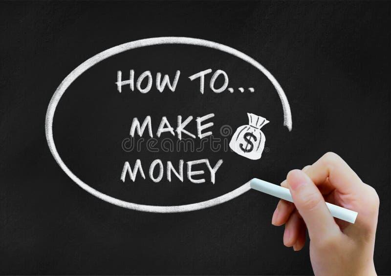 Wie man Geldhintergrundkonzept auf Tafel macht stock abbildung