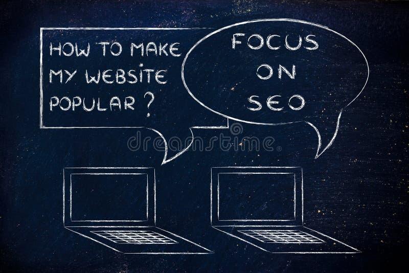 Wie man meine Website populär macht? Fokus auf SEO stockfoto
