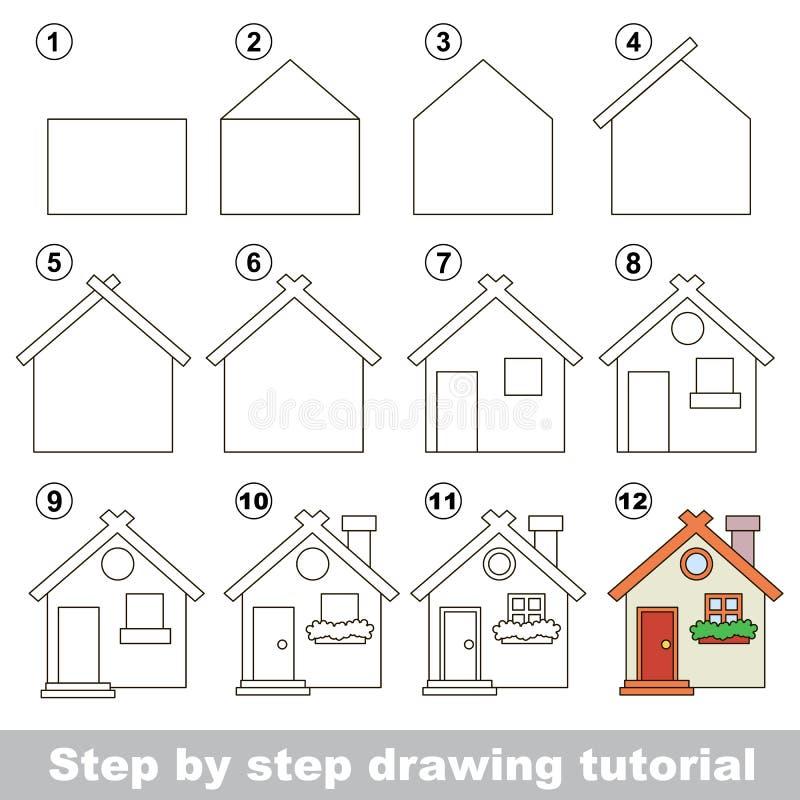 Wie man Toy House zeichnet stock abbildung