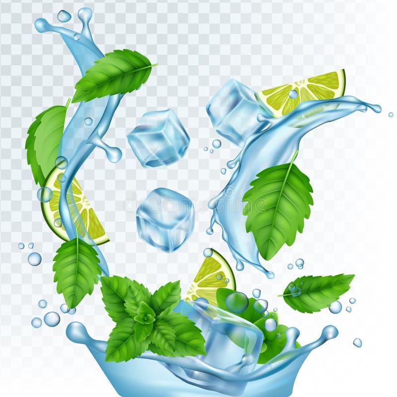 ?wie?a napoju wektoru ilustracja Realistyczna woda, kostka lodu, nowi liście i wapno odizolowywający na przejrzystym tle, royalty ilustracja