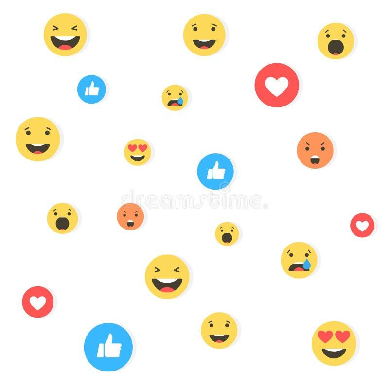Wie und Herz- und emojiikonen Livestromvideo, Chat, Gleiche, emoji Einfühlsame Emoji-Reaktionen Sozialnetze blau vektor abbildung