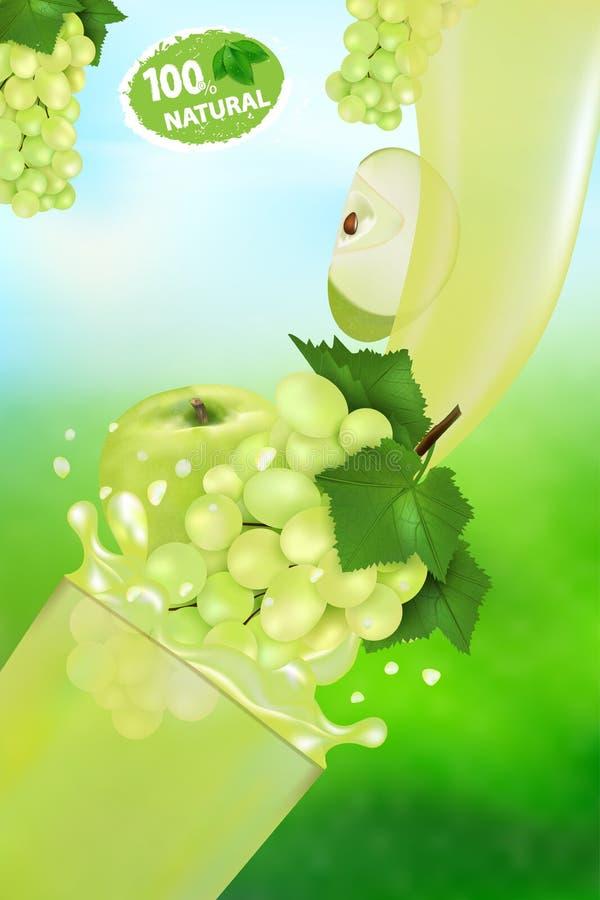 ?wie?y soku winogrono, Apple z plu?ni?ciem i Przepływ ciecz z kroplami dalej i słodkim owoc 3d realistycznym wektorowym ilustracy ilustracja wektor