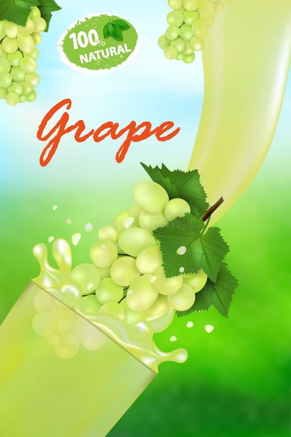 ?wie?y soku winogrono, plu?ni?cie i Przepływ ciecz z kroplami dalej i słodkim tropikalnym owoc 3d realistycznym wektorowym ilustr ilustracji