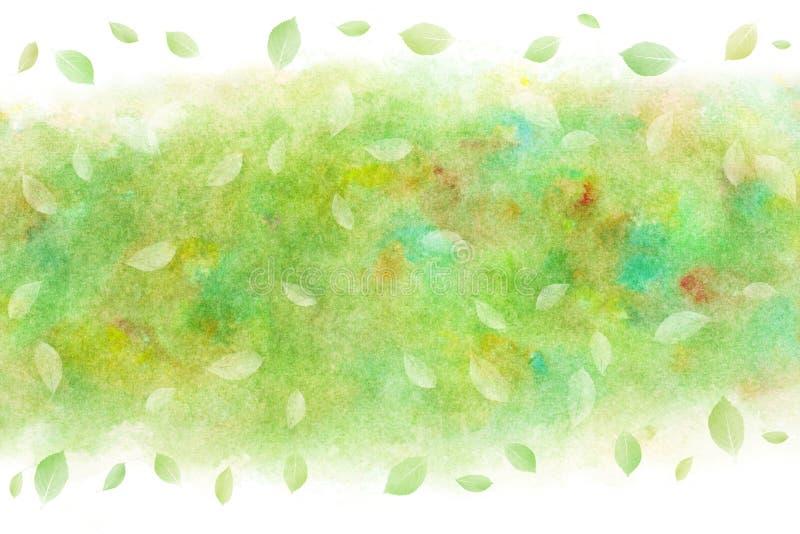 ?wie?y zielony li?cia abstrakt na akwareli farby tle ilustracja wektor