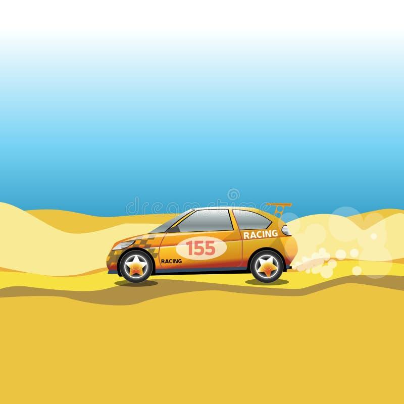 Wiec, Bieżny samochód w pustyni ilustracja wektor