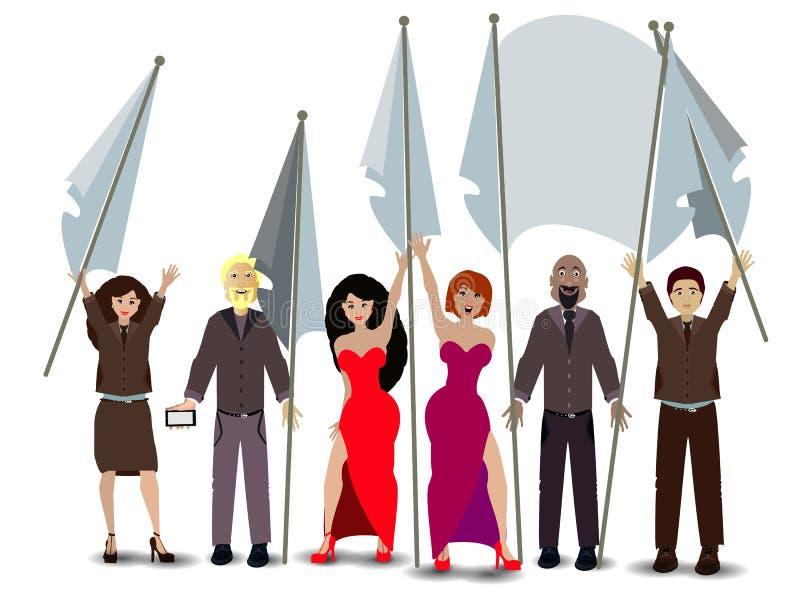 wiec flaga ludzie ilustracja ilustracji
