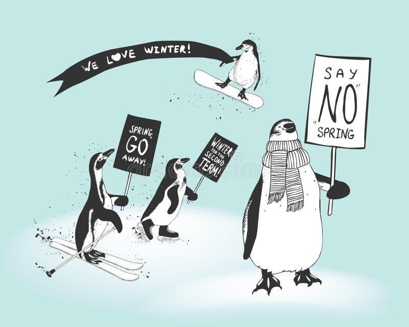 Wiec pingwin atlety w poparciu dla zimę ilustracja wektor