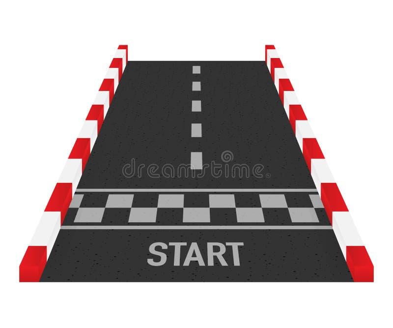 Wiec ras linii szlakowy lub drogowy ocechowanie Samochodowy lub karting drogowy ścigać się wektorowy tło również zwrócić corel il ilustracji