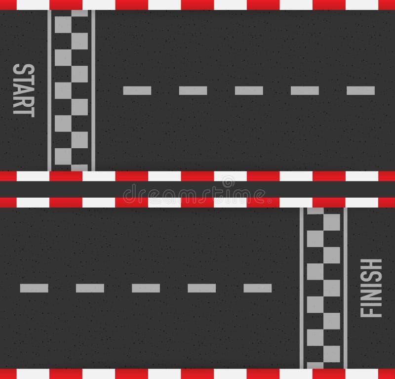 Wiec ras linii szlakowy lub drogowy ocechowanie Samochodowy lub karting drogowy ścigać się wektorowy tło również zwrócić corel il ilustracja wektor