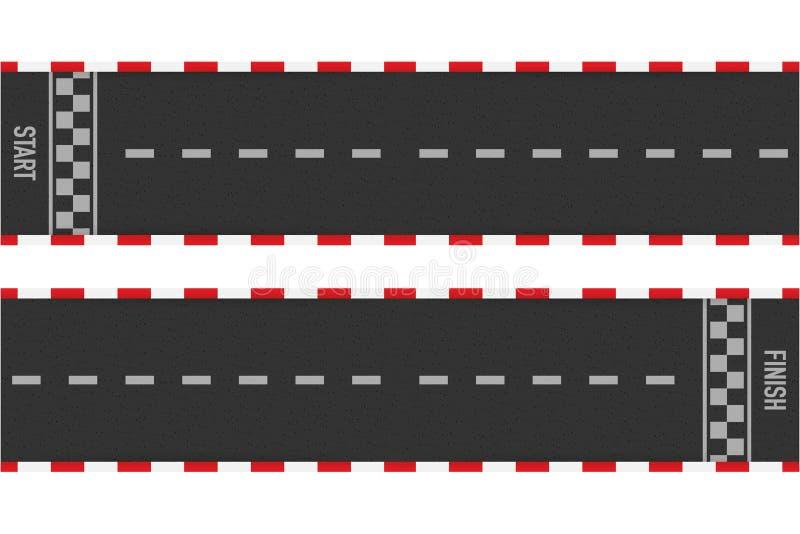 Wiec ras linii szlakowy lub drogowy ocechowanie Samochodowy lub karting drogowy ?ciga? si? wektorowy t?o r?wnie? zwr?ci? corel il royalty ilustracja
