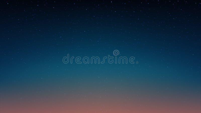 Wieczór błyszczy gwiaździstego niebo, błękita astronautyczny tło z gwiazdami, co ilustracja wektor