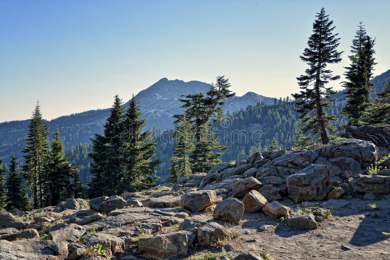 Wieczór, Brokeoff góra, Lassen Powulkaniczny park narodowy fotografia stock