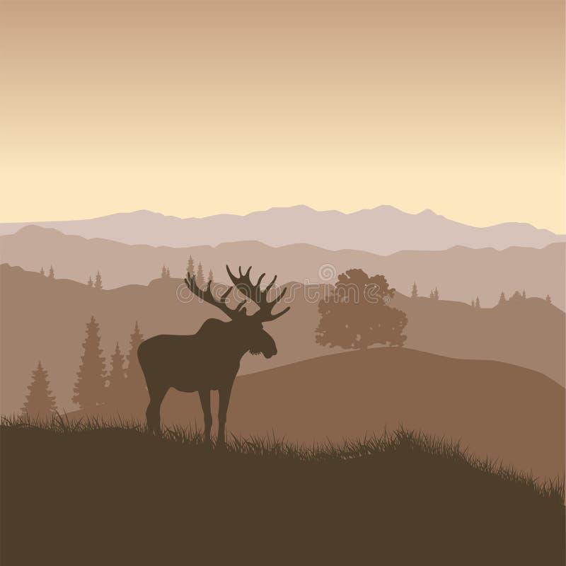 Wieczór góry krajobraz royalty ilustracja