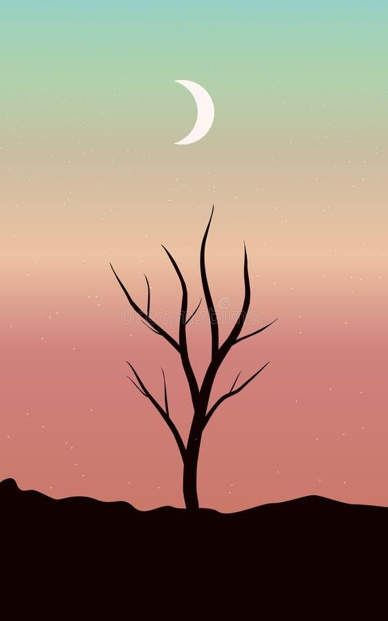 Wieczór krajobraz z gwiaździstym niebem i księżyc na tle sylwetki suszymy drzewa ilustracja wektor