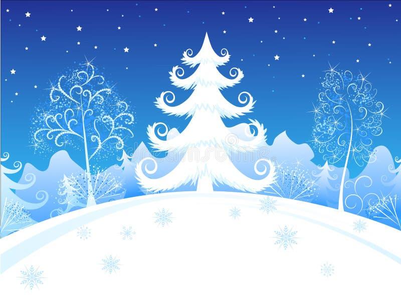 wieczór lasu zima ilustracji