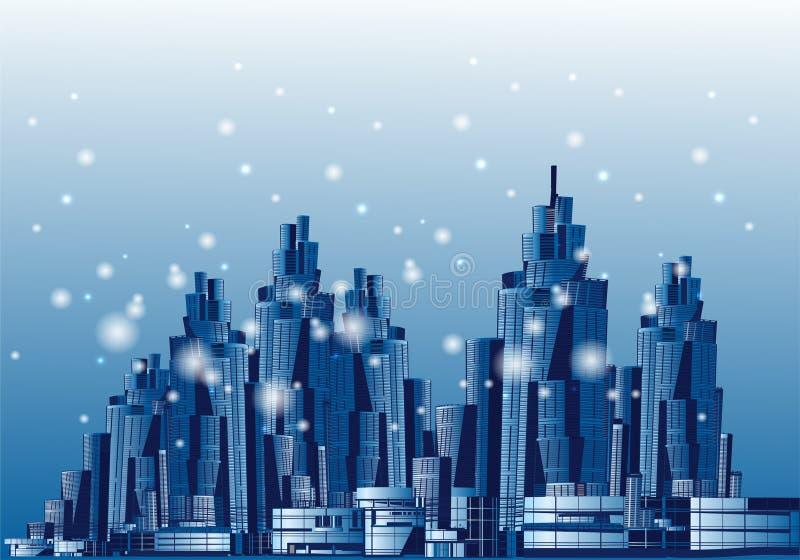 Wieczór metropolia, duży miasto, wektorowa ilustracja obraz stock