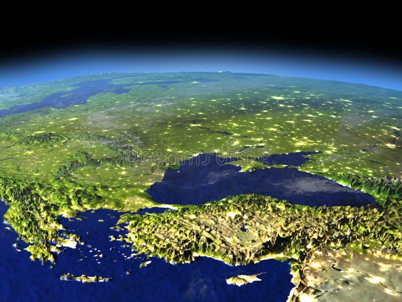 Wieczór nad Turcja i Czarny denny region od przestrzeni royalty ilustracja