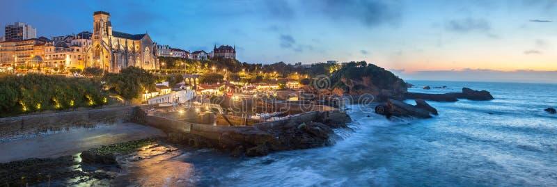 Wieczór panorama Biarritz zdjęcia stock