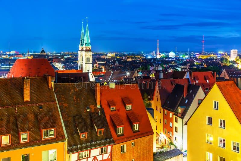 Wieczór panorama Nuremberg, Niemcy zdjęcia stock