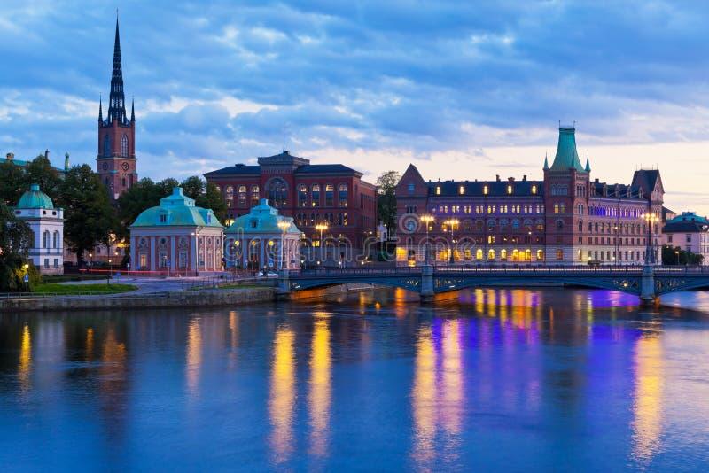 wieczór panorama sceniczny Stockholm Sweden obraz stock