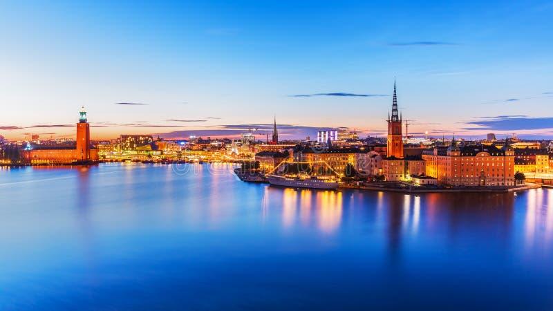wieczór panorama Stockholm Sweden obrazy stock