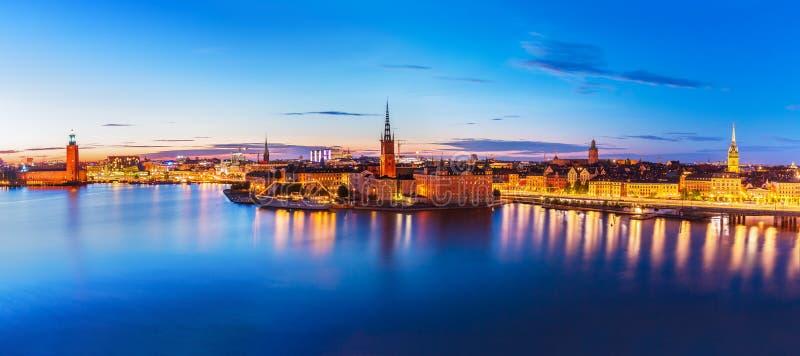 wieczór panorama Stockholm Sweden fotografia stock