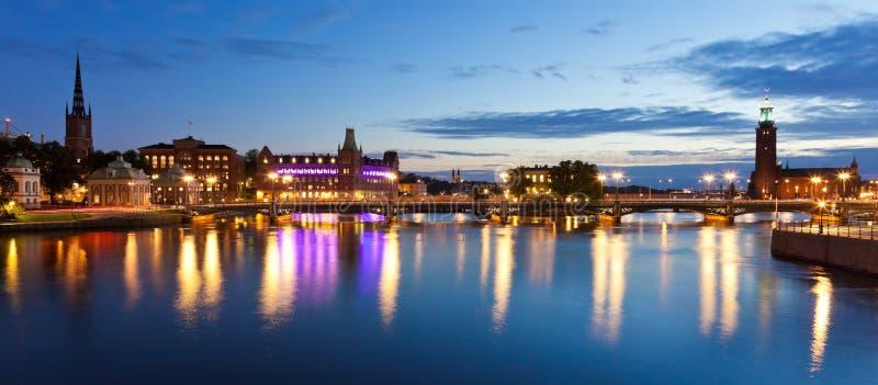 wieczór panorama Stockholm Sweden obraz royalty free