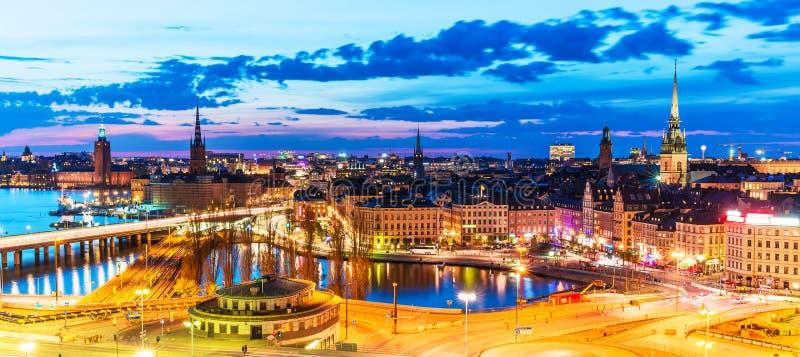 wieczór panorama Stockholm Sweden obrazy royalty free