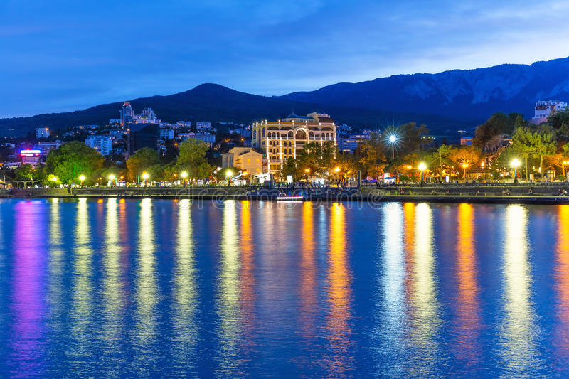 Wieczór panorama Yalta, Crimea, Ukraina obraz royalty free