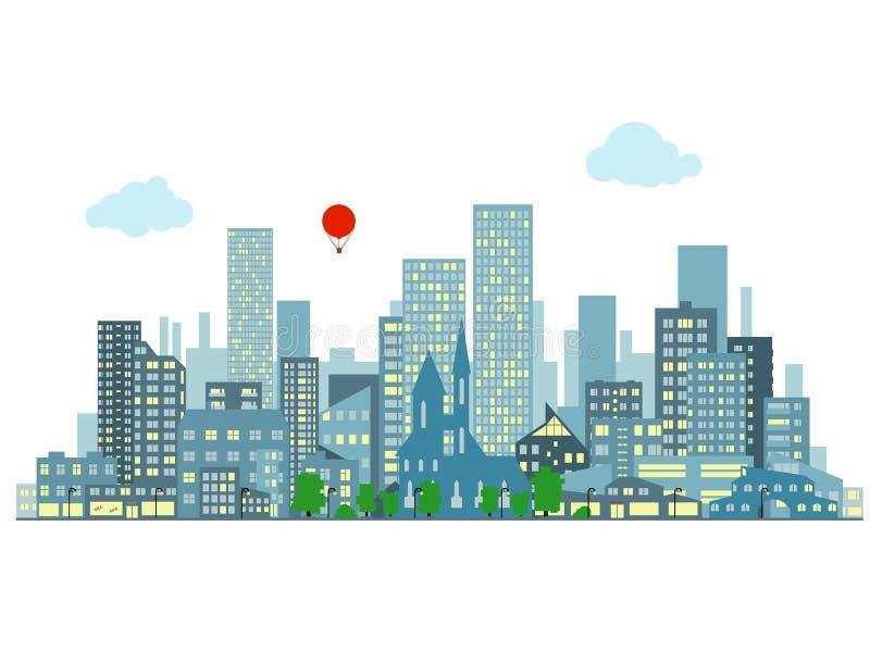 Wieczór pejzaż miejski royalty ilustracja