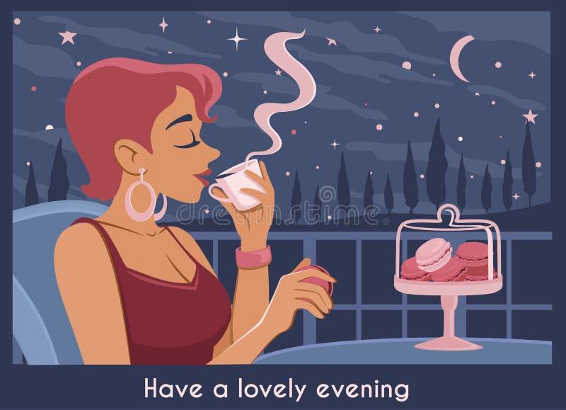 Wieczór plakat z młodą kobietą w kawiarni z zadziwiającym krajobrazem: gra główna rolę, księżyc która pije kawę i je macaron, chm ilustracja wektor