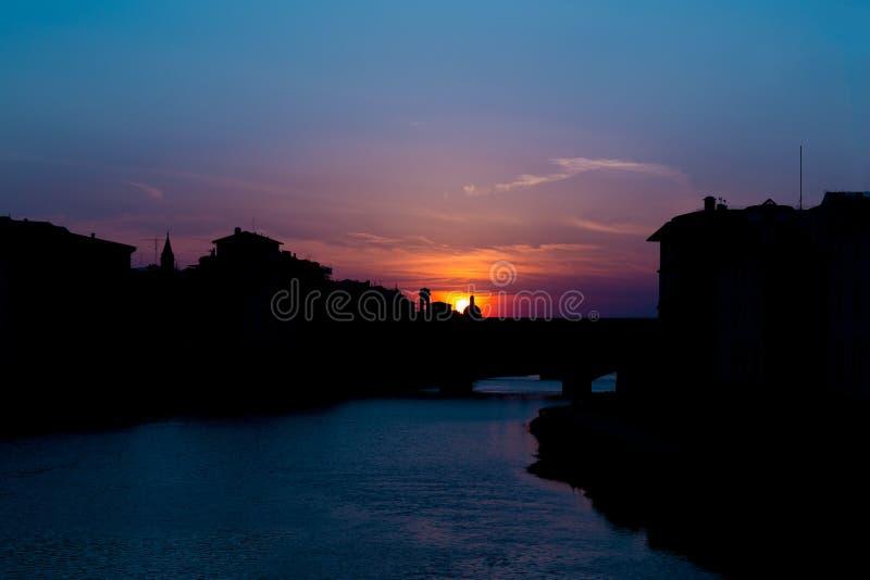 Wieczór ponte vecchio panorama fotografia stock