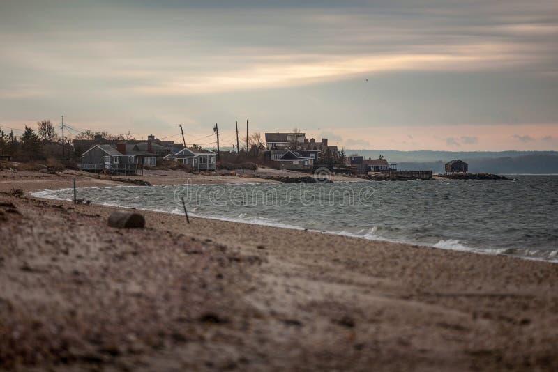 Wieczór przy amerykańskim wybrzeżem, Long Island obrazy royalty free