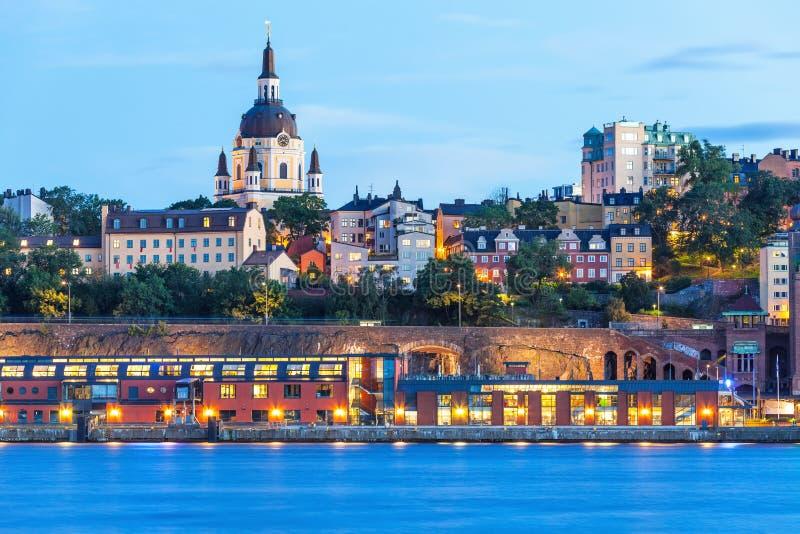Wieczór sceneria Sztokholm, Szwecja obraz stock