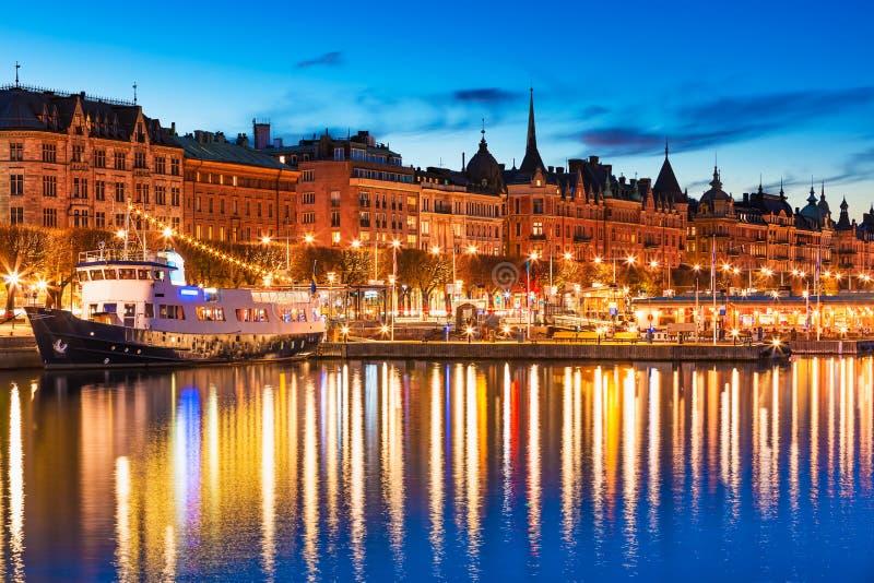 Wieczór sceneria Sztokholm, Szwecja obrazy royalty free
